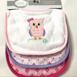 Luvable Friends Girls Bibs 3 Pack Soft Absorbent